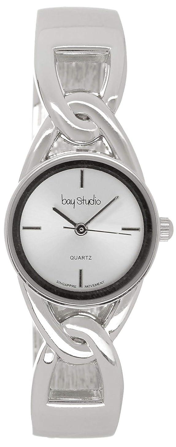 Bay Studio Womens Silver Tone Cutout Link Hinged Cuff Watch One Size Silver Tone