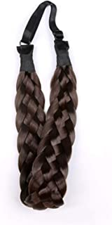 Qian Yang 5 Strands Synthetic Hair Braided Headband Plaited Classic Chunky Wide Plaited Elastic Stretch Hairpiece Women Girl Beauty Accessory (Dark brown)
