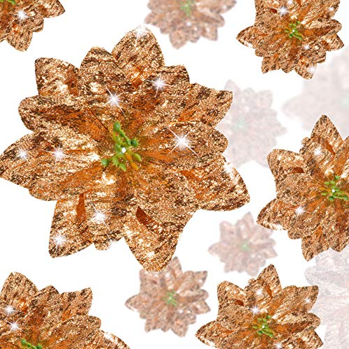 36 Pieces Christmas Glitter Poinsettia Flowers Artificial Flowers Wedding Glitter Christmas Tree New Year Ornaments (Rose Gold)