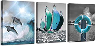 Ardemy Canvas Wall Art Ocean Teal Blue Dolphin Painting Sailboat Pictures, Modern Seascape 12