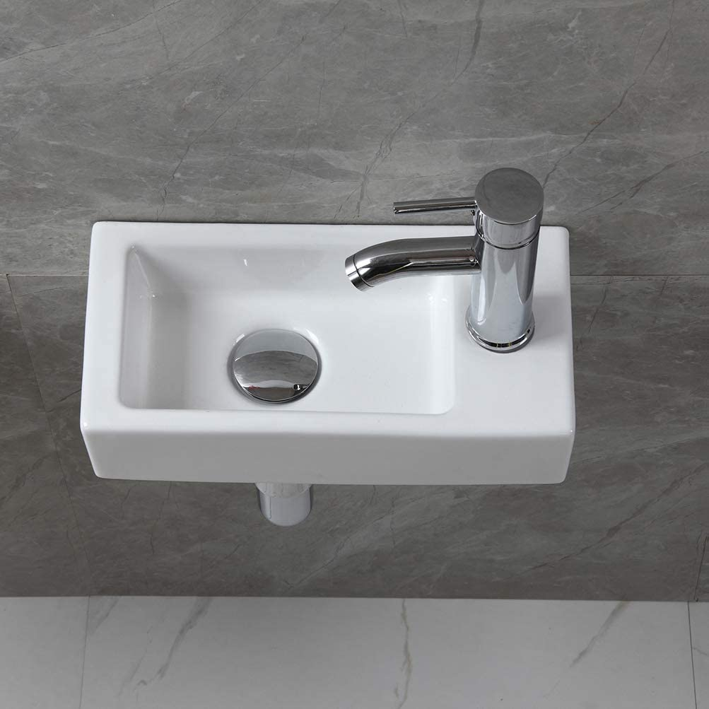 Buy Modern Bathroom White Rectangle Wall Mount Hung Porcelain Ceramic Small Sink Wash Art Basin Vessel Vanity Without Overflow Faucet Drain For Cloakroom Lavatory Toilet Right Hand Online In Taiwan B07v879vdc