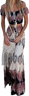 Vestido Boho Verano Mujer Conjunto de Falda para,Dos Piezas Conjunto de Falda para Arriba con botón Bowknot Holiday Beach ...
