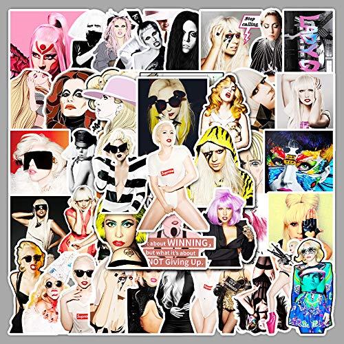 XXCKA 51 Lady Gaga Super Star Graffiti Autocollants Bagages Ordinateur Portable téléphone Autocollants imperméables