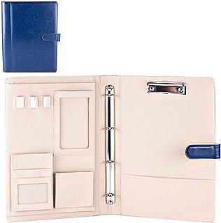 Porte-documents multifonction A4 pour documents de bureau - Pochettes de rangement avec classeur à anneaux (bleu)
