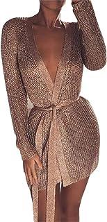 Women Metallic Knit Tie Waist Low Cut Wrap Dress Ladies Clubwear Knitted Cardigan with Belt