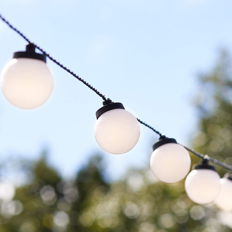 /Étanche terrasse Guirlande lumineuse de jardin Guirlande lumineuse ext/érieure d/écoration de No/ël et f/êtes Pour jardin Blanc chaud 4 m 50 LED maison Avec boule en cristal