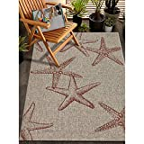 LR Home Captiva Sunset Cay Indoor/Outdoor Area Rug, 5' x 7', Coral/Beige