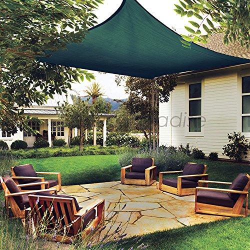 Patio Paradise 16' x 20' Dark Green Sun Shade Sail Rectangle Canopy - Permeable UV Block Fabric Durable Outdoor - Customized Available