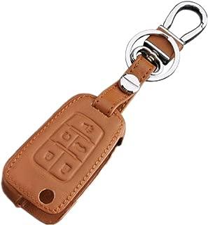 RPKEY Leather Keyless Entry Remote Control Key Fob Cover Case protector For Chevrolet Cruze Equinox Impala Malibu Sonic GMC Terrain Buick Encore LaCrosse Regal Verano OHT01060512 (brown)