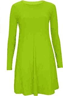 Womens Long Sleeve Jersey Tartan Swing Skater Dress Top UK 8-28
