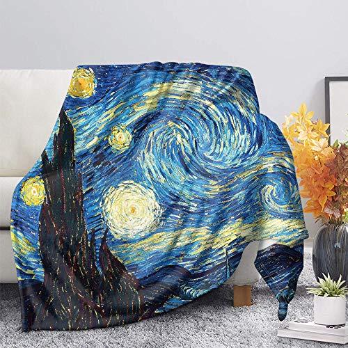 Mantas Colcha Franela Fleece Colcha Van Gogh Cielo Estrellado Azul Manta De Sherpa Impresión 3D Microfibrade Suave Y Cálida 180X200CM Extra Suave Manta para Hogar Viajar Queen Size