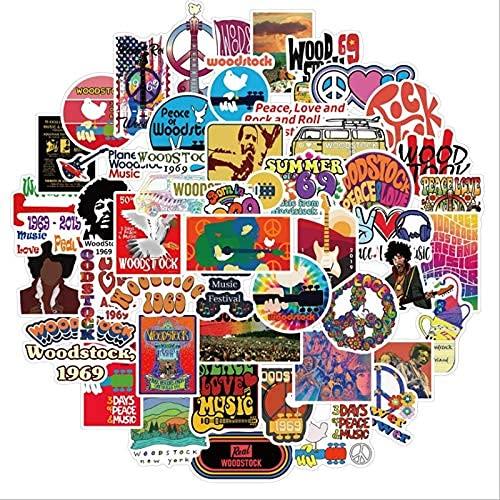 YACHAO Woodstock Music Festival Graffiti monopatín Impermeable Maleta de Viaje teléfono móvil Pegatinas de Equipaje Lindo Juguete para niños y niñas 50 Uds