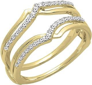 0.25 Carat (ctw) 14K Gold Diamond Ladies Anniversary Wedding Band Enhancer Guard Double Ring 1/4 CT
