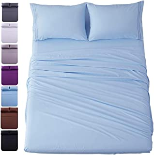Exquisite Shilucheng Twin XL Size 4-Piece Bed Sheets Set Microfiber 1800 Thread Count Percale 16 Inch Deep Pockets Super S...