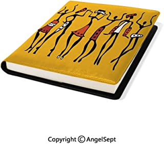 Fashion School Book Protector, African Dancers Sketchy Characters Ethnic Group Clan Disco Happy Graphic Mustard Orange,8.7
