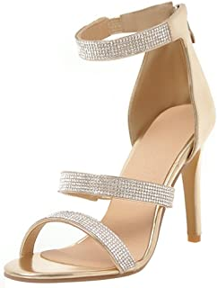 774cc2fe094855 Mofri Women s Dress Ankle Strap Rhinestone Open Toe Zipper up Stiletto High  Heels Sandals Shoes