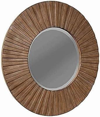 Benjara Transitional Sunburst Round Mirror with Wooden Frame, Brown