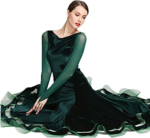 CPDZ Mesdames Filles Lyrical Robe Velours Vert rétro Contemporain Ballet Moderne Jazz Danse Justaucorps Ballroom Costume Grande Taille L XL XXL,L