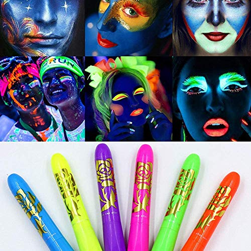 Luminous Face Paint Crayons,Washable Facial Body Paint Sticks Crayons Professional Luminous Pigmented Crayon Sticks for Mardi Gras Halloween Masquerades Birthday Parties Makeup Paint Crayons 6 Colors