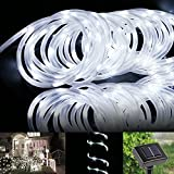 LE 23ft LED Solar Rope Lights, Waterproof, 50 LEDs, 1.2 V, Daylight White, Portable, with Light Sensor, Outdoor Rope Lights, Ideal for Christmas, Wedding, Party