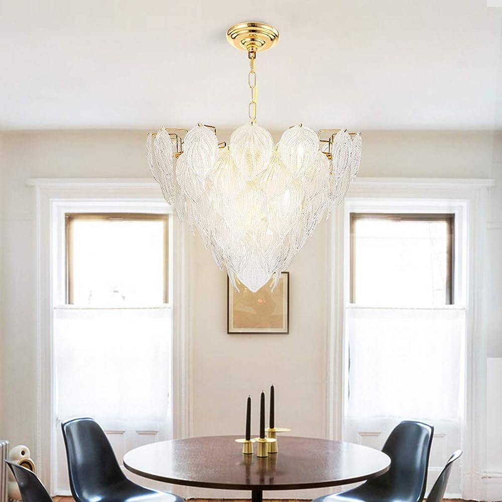 Kuandar chandelier,lampadario di cristallo di lusso moderno creativo in vetro a foglia d`acero,led RYYABC206
