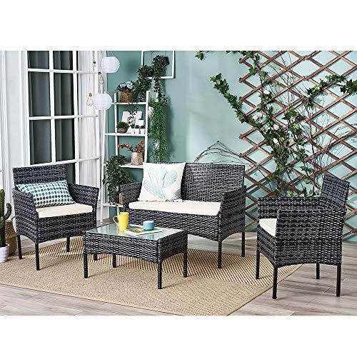 Ensemble Salon de Jardin Table en Verre + 1 Canapé 2 Places + 2 Fauteuils en Résine Tressée Poly...
