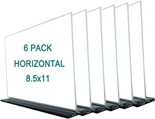 WINKINE Desktop Acrylic Sign Holder with Base 8.5x11, Double Sided Menu Ad Frame, Marketing Display for School, Business, Restaurants, Promotions (6 Pack Horizontal, 8.5x11)