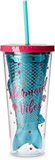 Mermaid Insulated Plastic Tumbler Cup: Tri-Coastal Design Reusable Shatterproof Drinking Glass Tumblerswith Lid & Straw - Double Wall BPA Free Dishwasher Safe Glassware Cups - Mermaid Vibes