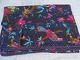 Tribal Asian Textiles Colcha India Reversible Kantha Hecha a Mano, tamaño Doble, Estampado de pájaros por Tribal Asian Textiles