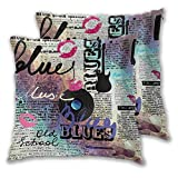 Old Newspaper Decor Sofa Hug Funda de Almohada Blues Género Musical Old Record Guitarras eléctricas Kiss Inscripciones Grunge Fácil de cuidar 2 PCS, Multicolor