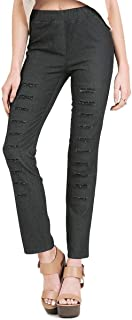 Umgee Women's Black Denim Pants with Ripped Details