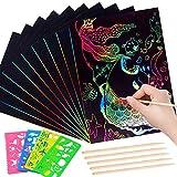 Chingde 118 Piezas Papel de Arte de rascar, Arte de rascar de Arco Iris, Papel de rascar Negro, Pintura de rascar, con Reglas de Dibujo y lápiz de Madera para niñas, niños, niños