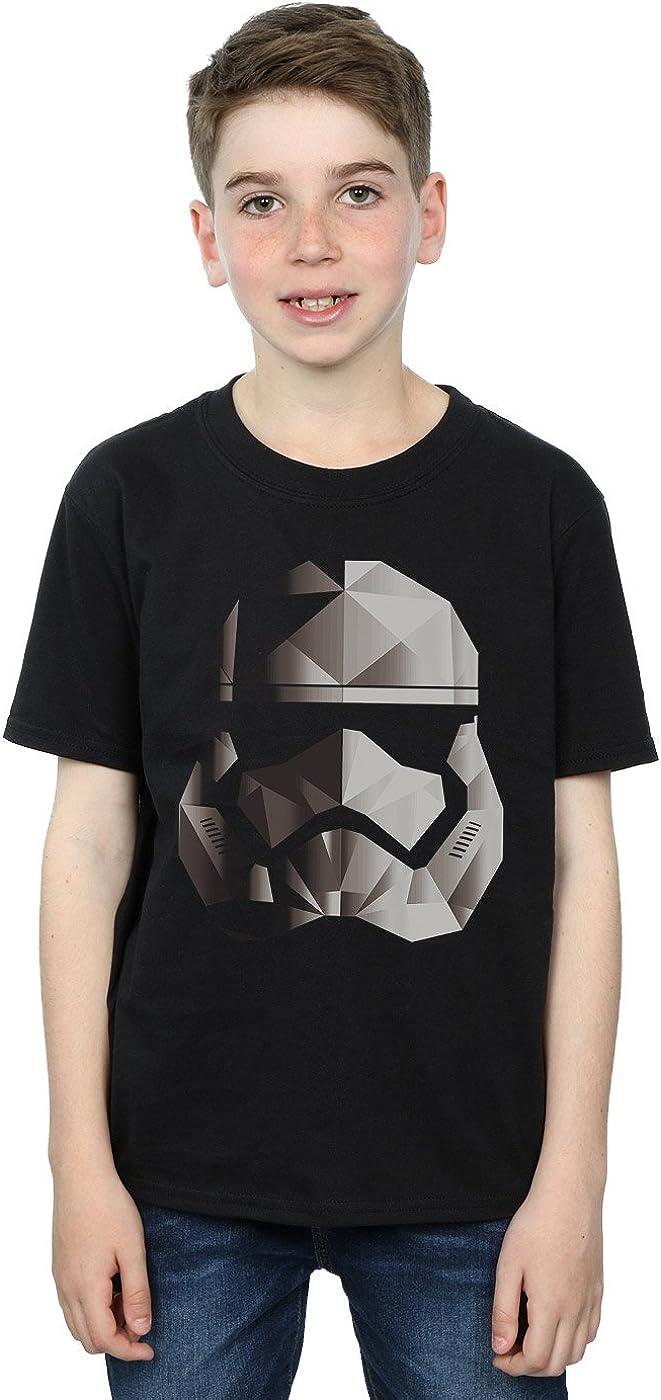 STAR WARS Boys The Last Jedi Stormtrooper Mono Cubist Helmet T-Shirt 5-6 Years Black