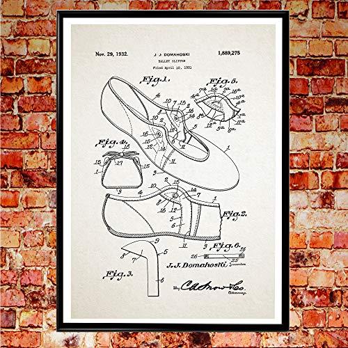 Ballettschuh Ballettschuh Ballerinas Pumps Ballerina Wandkunst Ballett Poster Ballerina Schuh Ballett Studio Poster (8 x 10, Elfenbeinfarben)