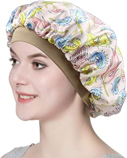 Women Silky Double-Layered Satin Sleep Cap with Premium Elastic Band
