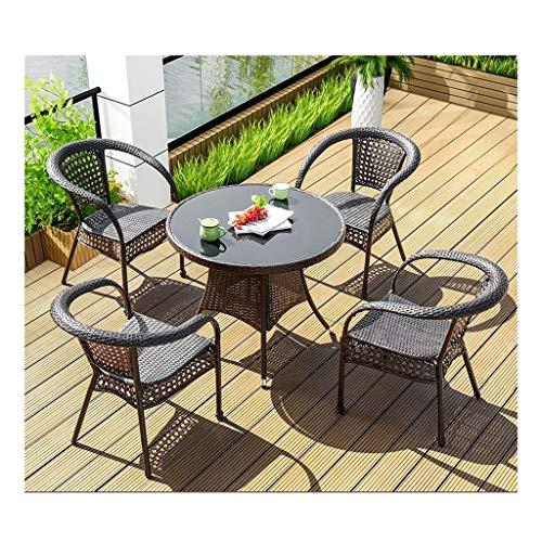 DYYD Juegos de Muebles de jardín Muebles de Exterior Mesa y Sillas Conjunto Patio Interior del Invernadero conversación de café al Aire Libre Mesa de Patio al Aire Libre Jardín