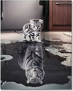 Rihe Pintura por números DIY (marco de madera al óleo gato o tigre) para adultos principiantes, decoración del hogar sin marco Gato tigre o