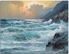 Paint by Numbers for Adults Children, DIY Oil Painting, Wave reef - 40x50cm - Without Framed