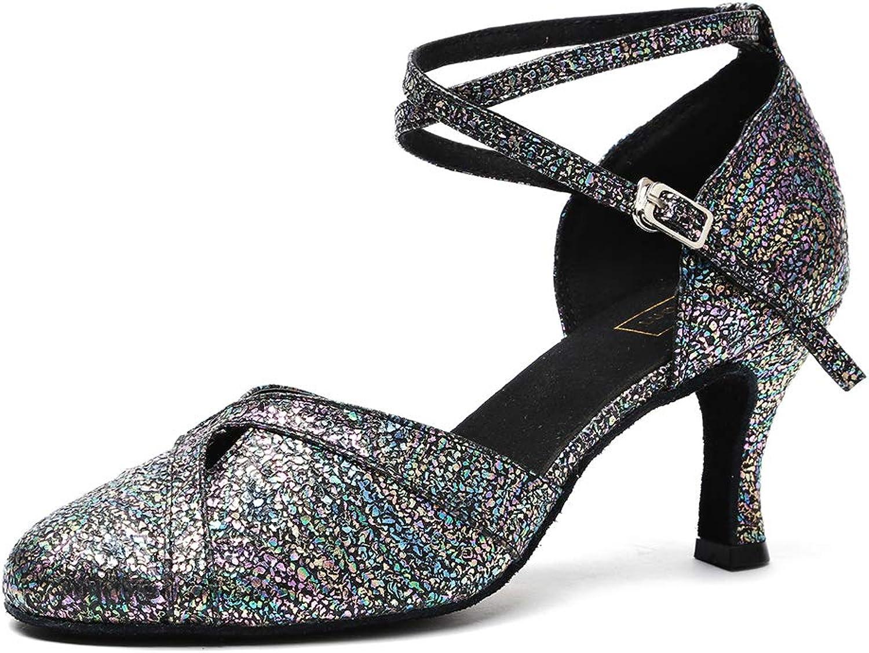 PU Leather Glitter Closed Toe Womens Latin Dance Salsa Tango Lumba Modern Dance shoes High Heel,Brightblack(Heel 5cm),35EU
