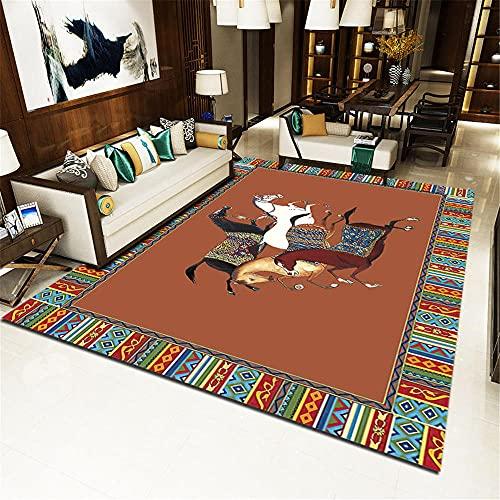 Alfombra Para Silla Gaming Marrón Alfombra Habitación Matrimonio Caballo patrón sala de estar alfombra sofá moderno minimalista dormitorio estilo chino puede ser personalizado Alfombra Acolchada 120X1