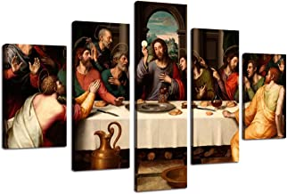 The Last Supper Wall Art Canvas Framed Posters and Prints Art Home Decor for Living Room Modern Artwork Pictures 5 Panel E...