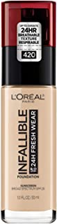 L'Oréal Paris Makeup Infallible up to 24HR Fresh Wear Liquid Longwear Foundation, Lightweight, Breathable, Natural Matte Finish, Medium-Full Coverage, Sweat & Transfer Resistant, True Beige, 1 fl. oz.