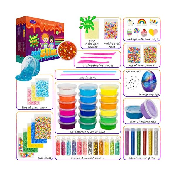 DIY Slime Kit for Girls Boys Aged 5-12 Glow in the Dark Slime Making Kit for Girls' Parties, 18 colors Unicorn Slime Kit for Girls with Beads, Sequins, Hearts and More, Gift Slime Kits for Girls Boys 5