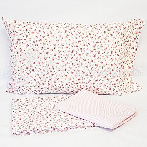 Completo sábanas Sanremo–Made in Italy–100% algodón de trama tupida–1piazza. cama individual–Rosa Envejecido
