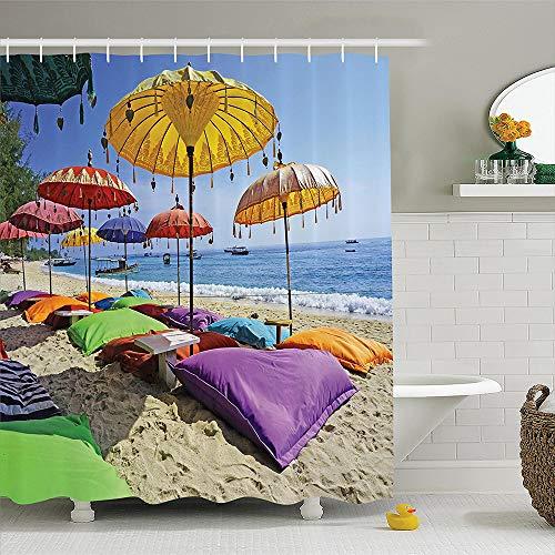 qhtqtt Cortina De Ducha Playa Balinesa Playa Virgen Bañada por La Costa De Arena De Bali Sombrillas Diurnas Almohadas Ocio Poliéster Baño 180X200Cm A