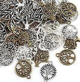 Naler 80 Stück Charms Anhänger Lebensbaum Retro Antik Silbern Bronze Mischung für Schmuck Basteln