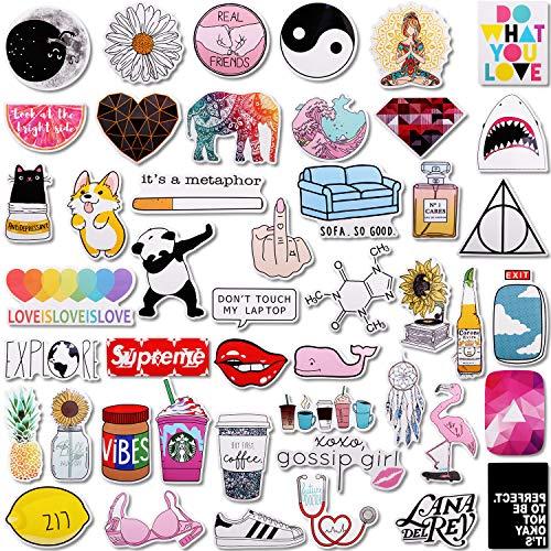 46 Stücks Süß Wasserdicht Aufkleber Vinyl Stickers für Mädchen,MWOOT Graffiti Selbstklebend Aufkleber Decals für Wasserflaschen Auto Fahrrad Skateboard Gepäck Laptop Telefon Gitarre