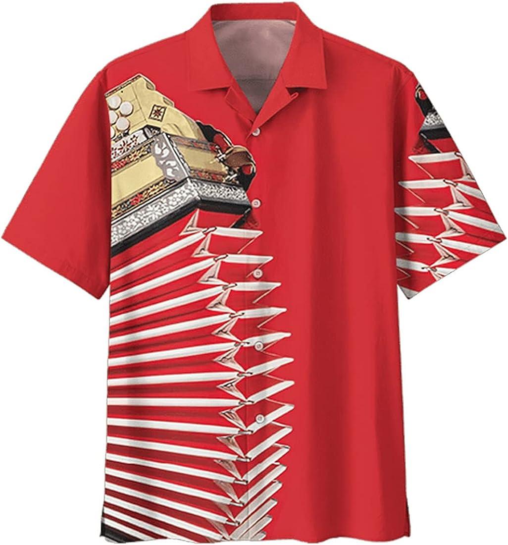 Tropical Accordion Hawaiian Shirts for Men - Summer Accordion Button Down Mens Hawaiian Shirts Short Sleeve Series 160