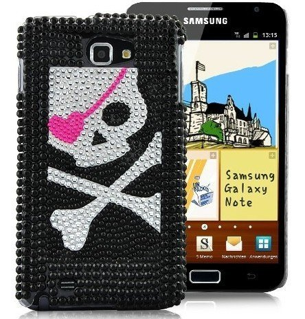 Terminal shell perles de crâne de pirate strass Housse de protection Housse Shell Case Samsung Galaxy Note I922 femmes chic et élégant femme fille Phone Case brillant