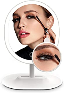 MiroPure Lighted Makeup Mirror, Oval-Shaped Vanity Mirror with 5x Magnifying Spot Travel Mirror Detachable, 16 LED Lights Adjustable Brightness, Built-in 1000mah Lithium Battery USB Rechargeable